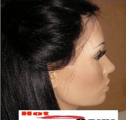 Peluca recta sin cola peruana llena del cordón en Línea-2014 nueva llegada Yaki recta Glueless peluca llena del cordón del cordón frontal peluca de cabello humano Remy malaysianVirign peruano indio brasileño Freeshipping