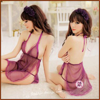 Cheap sexy lingerie for woman transparent lace gauze sleepwear baby dolls backless Chinese-style chest covering with G-string 9953