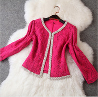 Cheap White Rose Red Long Sleeves Embroidery Beading Short Jacket Handmade Beading Lace Cute Embroidery Hollow Out Jacket T135804