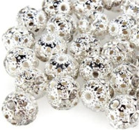 Wholesale quot New Arrival mm DIY Hollow Spherical Shaped With Artificial Diamond Silver Plated Spacer Beads