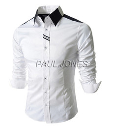Wholesale Business Male Fitted Newest Men s Formal Slim Long Sleeve Basic Shirts Free Ship CL5658