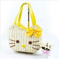 Wholesale bolsa hot sale string women handbags brand new women s handbag hello kitty straw bag woven totes beach bags