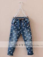 Wholesale Korea Hot Sale Children Girls Waist Belt Jeans Bowknot Long Jeans Printing High Quality Kids Pants Denim Pants Child Cowboy Trousers E0730