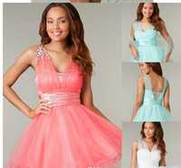Cheap Cheap Two Piece Short Coral Corset and Tulle Homecoming Dresses with Detachable Shawl 2014 Back to School Beaded Prom Party Gowns