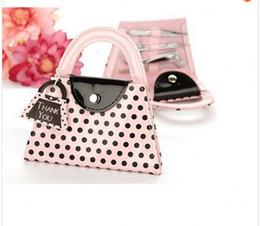 Wholesale Wedding favor Pink Polka Dot Purse Manicure Set bridal shower favor gifts wedding party favor TSQ170
