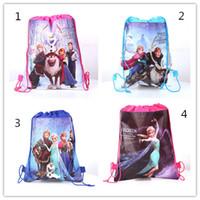 Wholesale Frozen drawstring bags Anna Elsa backpacks handbags children school bags kids shopping bags present