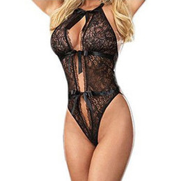 Wholesale Sexy Lingerie Onepiece Lace Bodysuit Set Sleepwear Black