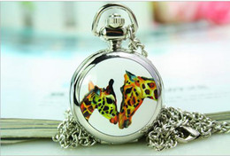 New arrival fashion Two giraffes pattern Unisex quartz Good quality Stainless steel Pocket Watches necklace