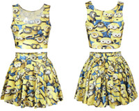Cheap HarryStore S006 2014 NEW two piece bodycon crop top and skirt set women cropped clothing Despicable Me print punk dress