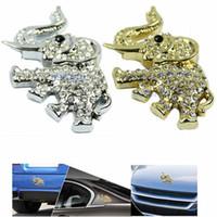 Cheap Free Shipping 3D Logo Car Sticker Elephant w Rhinestone Emblem Auto Window Bumper Body Badge Decal Sale