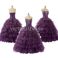 Wholesale High Quality Ball Gown Quinceanera Dresses Sweetheart Sleeveless Organza Lovely Real Sample Red Purple Blue Puffy Prom Gowns