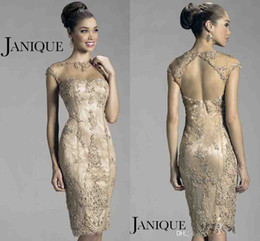 Wholesale 2014 New Arrival Sexy Illusion Crew Neck Cap Sleeve Lace Beaded Sheath Mother Of The Bride Dresses Janique Evening Dresses