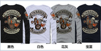 motorcycle shirt - New Men s BLOOD MESSAGE skeleton knight Harley motorcycle Long sleeve T shirt