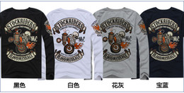 Wholesale New Men s BLOOD MESSAGE skeleton knight Harley motorcycle Long sleeve T shirt