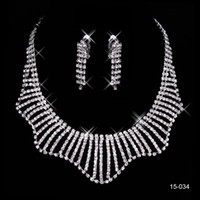 ring wedding - 2015 New Fashion Special Clear Rhinestone Necklace Earrings Set Wedding Bridal Bridesmaids Jewelry Prom Party Dress Accessories