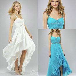 Short Front Long Back Beach Wedding Dresses V-Neck Chiffon Beaded Strap Ruched Gown Full-Length