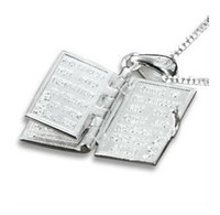 Wholesale Classic Silver Bible Book Cross Necklace Pendant Free With Chain Sterling Silver