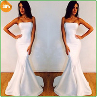 Wholesale Fabulous Elie Saab Strapless Memaid White Prom Dresses without Train Elegant Simple Designer Dresses Celebrity Dresses Satin Prom Dress