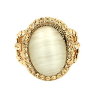 Three Stone Rings Mexican Women's GUST Brand Jewelry Fashion Wedding Bands Big Oval Opal Cat's eye Wedding Rings Ring Crystal Rose Gold Party Women Size 9 R007