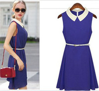 Wholesale 2014 Summer HOT Womens Ladies Sleeveless Chiffon Doll Collar Plus Size Clubwear Cocktail Casual Party Dresses Prom Evening Dress Belt Free