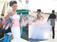 Cheap Berta Bridal New Graceful Mermaid Wedding Dresses 2015 Sexy Spaghetti Straps Open Sheer Back Sweep Train Glitz Beach Bridal Gowns BO4801