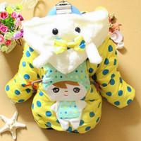 Cheap 3pcs lot New 2014 Autumn Winter Baby Outerwear Girls Fleece Padded Polka Dots Hooded Coats & Jackets For Children ZZ2622