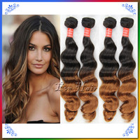 Cheap Brazilian Remy Virgin Hair Bundles Ombre Loose 4 Bundles Queen Weave Beauty Hair Wefts Two Tone 1B 30 King Hair Tissage 100% Human Hair Wigs