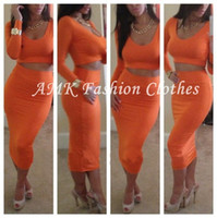 Cheap New 2014 Women Girls Sexy Club Stage Celebrity Bandage Bodycon Long Sleeve Cocktail Plus Size Dresses 2 Pieces clothing set 5 Color