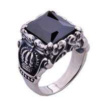 Cheap 925 Sterling Silver Knight Crown Ring Jewelry Gift Men's Black Stones Ring Free Shipping Wholesale