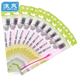 Wholesale 12pcs dazzle black charcoal toothbrush bamboo charcoal wood charcoal