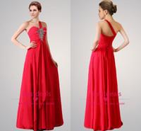 Backless chiffon evening dresses 2014 bling one shoulder bea...