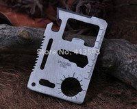 Cheap Free Shipping 11 in 1 Emergency Outdoor Army Survival Card Hunting Survival Kit Pocket Credit Card Knife Gift 260