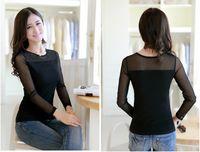 Cheap 2014 Autumn Winter Women Fashion Crystal Casual Shirts Blouses T Shirt Tops Under Base Shirt Long Sleeve Bottoming Shirt Plus Size XL XXL