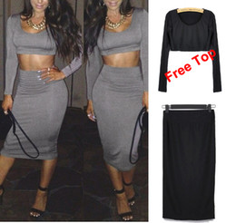 Wholesale Sexy Women s Club Skirts with Top High waist Dress Cocktail Clubwear Bodycon Dress Evening Party Bandage Body con Dress S M L