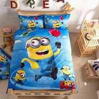 Wholesale Minions Despicable Me D Cartoon Kids Bedding Set Student Single Size Duvet Cover Quilt Bedspread Pillowcase Cotton Christmas gift