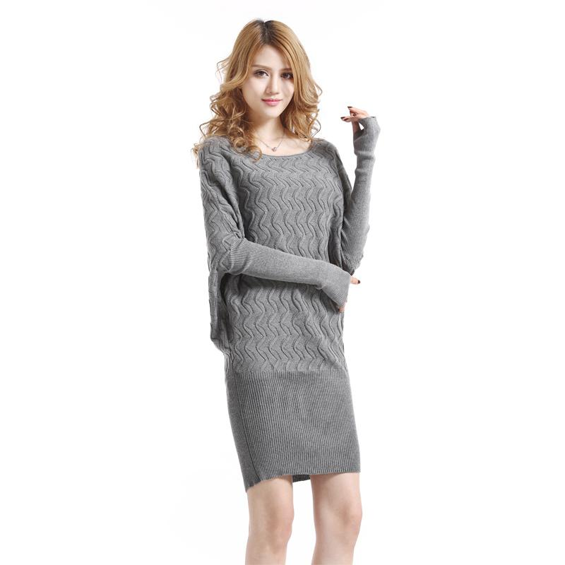 2014 Fall Sweater Knit Dresses Knitted Sweater Dress