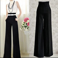 Cheap Womens Casual Black Slim High Waist Flare Vintage Career OL Loose Wide Leg Long Pants Palazzo Trousers with Belt 656290