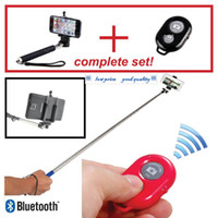 Cheap Hot selling Selfie Extendable Handheld Stick Monopod + Clip Holder + Bluetooth Camera Remote Shutter For IOS Android mobile phone