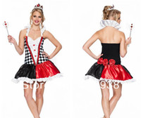 Wholesale mascot New arrive stylish red heart poker queen costumes women halloween costumes sexy PSN