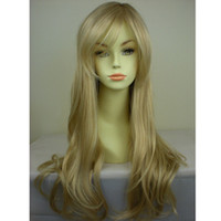 Wholesale Classic Girls Long Wavy Wave Full Cosplay Party Wig with Bang Fringe Salon Supply High temperature Synthetic Fiber Jf01