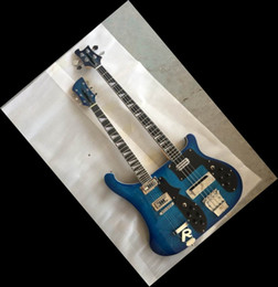 Wholesale - New Double neck bass guitar 4 string bass and 6 string guitar blue Electric Guitar OEM Available 140610-0801