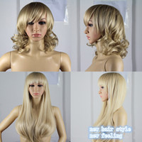 Wholesale 2014 New Fashion Short Medium Wave Curly Long Straight Full Wig Hair with Side Bangs Neat Fringes Synthetic Hair Wig Jf02