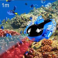 Wholesale New Mini Green Radio RC Remote Control Sub Submarine Boat Explorer LED Toy Kids