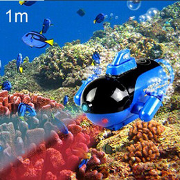 Wholesale Submarines Toys - New Mini Green Radio RC Remote Control Sub Submarine Boat Explorer LED Toy Kids Free shipping& wholesale