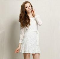 Cheap fashion new 2014 women2013 European and American women Hitz round neck full lace skirt waist sweet and elegant long-sleeved dress 9845