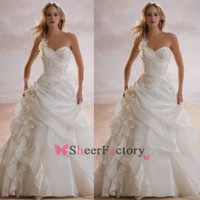 Cheap 2014 Fall Vintage A Line Wedding Dresses with One Shoulder Lace Applique Beaded Taffeta Ruffles Flowers Beach Formal Bridal Gowns BO6455