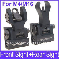 Wholesale OP Tactical Iron Folding Battle Sight Set Flip up Front Rear Sight TROY Back up Sight for M4 M16 AEG Series