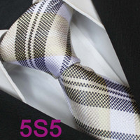 Cheap BRAND NEW COACHELLA Men ties 100% Pure Silk Tie Beige With Wheat Gray Grids Woven Holiday Necktie Formal Neck Tie for dress shirts Wedding