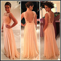 2015 Cheap Coral Crew Prom Dresses Lace Applique Free Shippi...