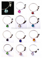 Wholesale 12pcs Mix Colors Birthstone Crystal Pendant of Months Birthstone Alex and Ani Charm Wiring Bracelet expandable bangles